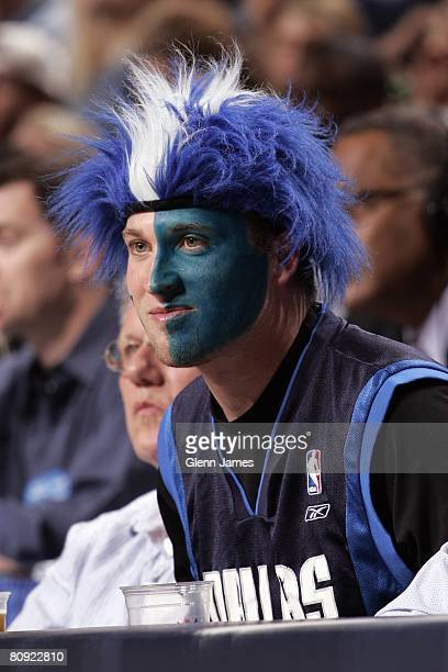 Mavs fand with face paint looks on in Game Four of the Western Conference Quarterfinals between the New Orleans Hornets and the Dallas Mavericks...