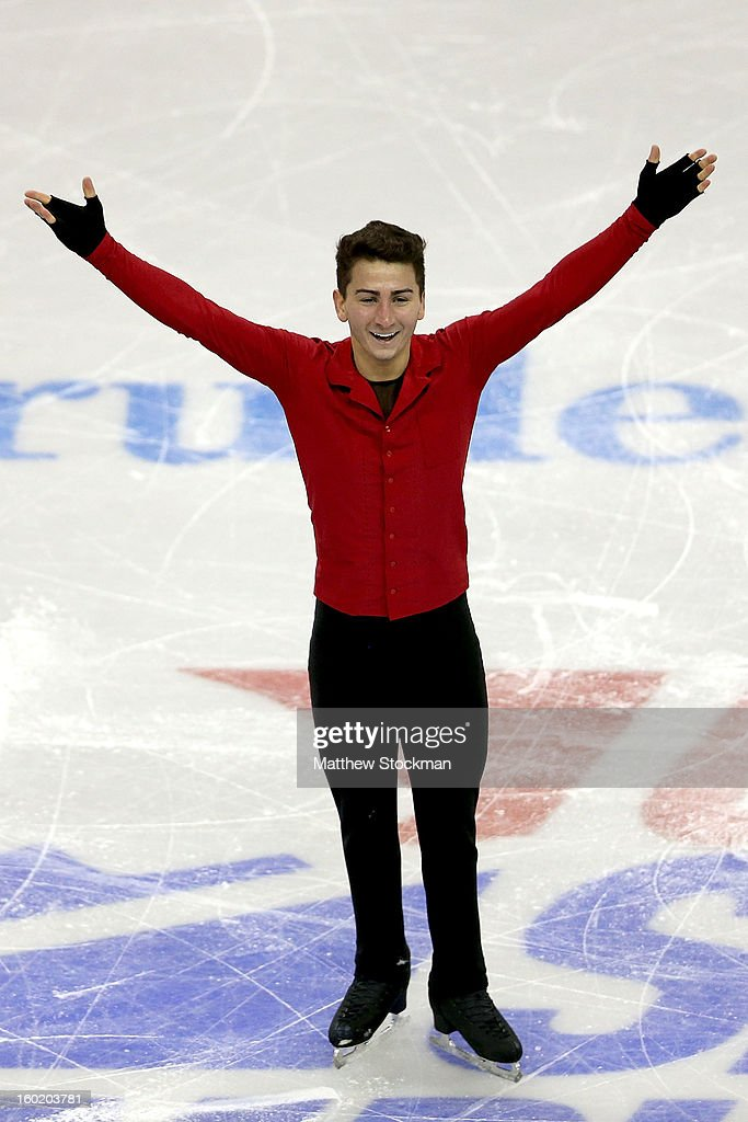 Max Aaron celebrates at the end of his routine during the Men's Free Skate at the 2013 Prudential U.S. Figure Skating Championships at CenturyLink Center on January 27, 2013 in Omaha, Nebraska.