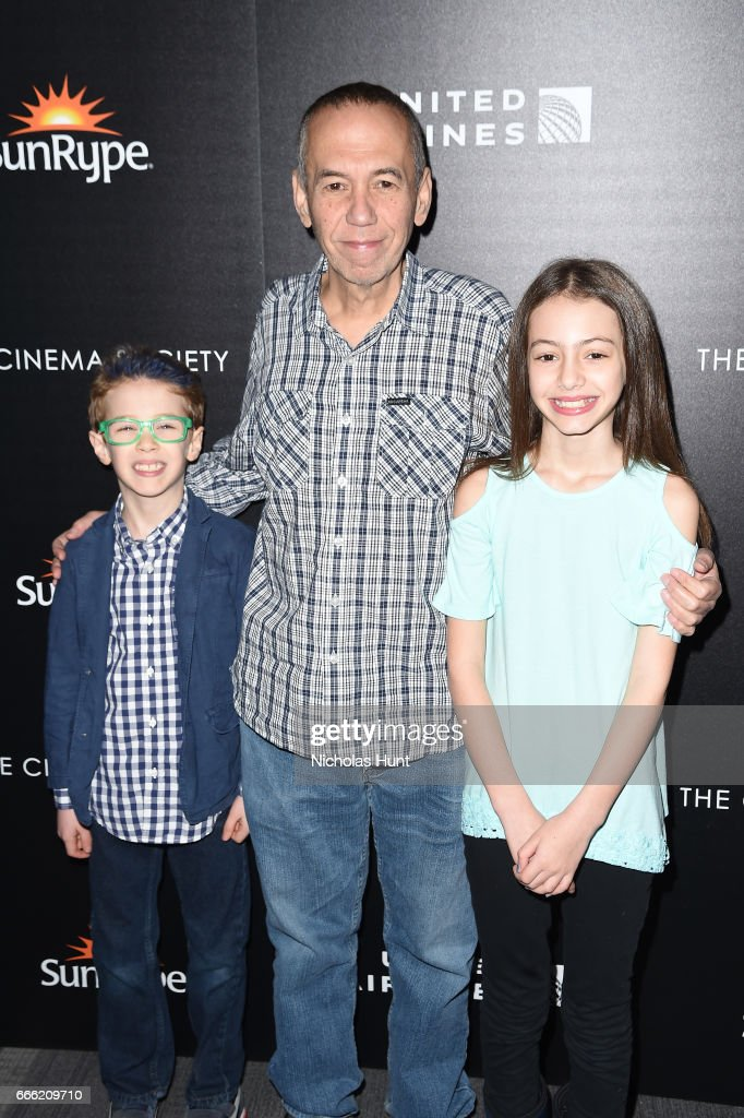 Max Aaron Gottfried, Gilbert Gottfried, Lily Aster Gottfried attend the Disneynature With The Cinema Society Host The Premiere Of 'Born In China' at Landmark Sunshine Cinema on April 8, 2017 in New York City.