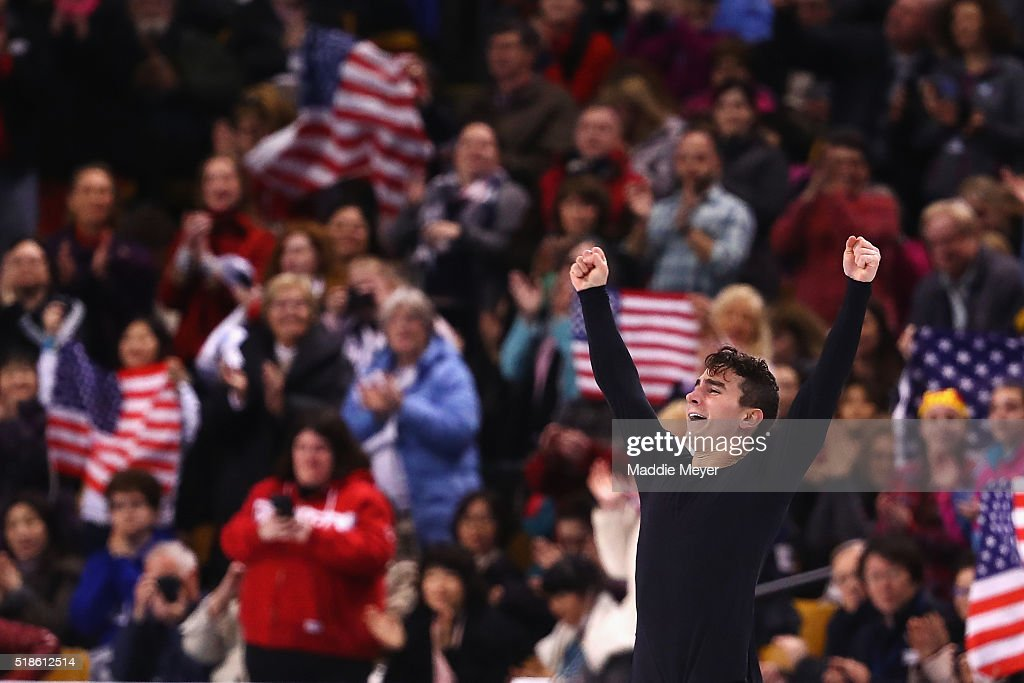 <a gi-track='captionPersonalityLinkClicked' href=/galleries/search?phrase=Max+Aaron&family=editorial&specificpeople=7380345 ng-click='$event.stopPropagation()'>Max Aaron</a> of the United States celebrates after completing his routine in the Men's Free Skate program during Day 5 of the ISU World Figure Skating Championships 2016 at TD Garden on April 1, 2016 in Boston, Massachusetts.