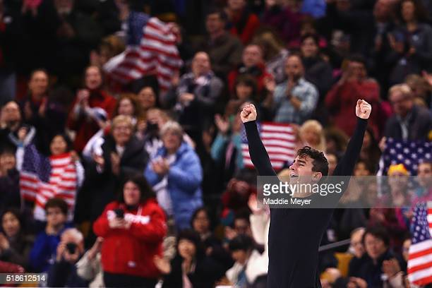Max Aaron of the United States celebrates after completing his routine in the Men's Free Skate program during Day 5 of the ISU World Figure Skating...