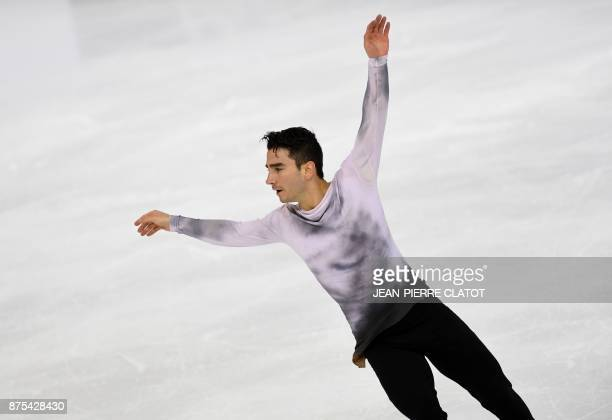 Max Aaron of the US performs a routine during the men's short programme for an event of the Internationaux de France ISU Grand Prix of Figure Skating...