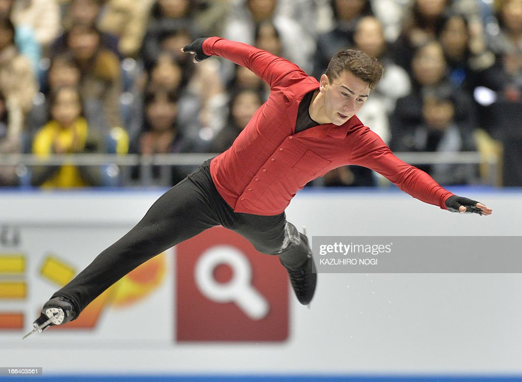 Max Aaron of the US performs in the men's free skating at the World Team Trophy figure skating competition in Tokyo on April 12, 2013.