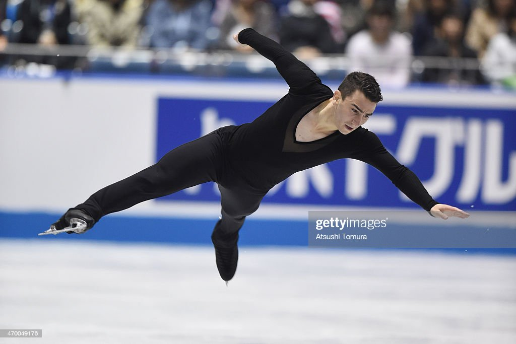 <a gi-track='captionPersonalityLinkClicked' href=/galleries/search?phrase=Max+Aaron&family=editorial&specificpeople=7380345 ng-click='$event.stopPropagation()'>Max Aaron</a> of the USA competes in the men's free skating during the day two of the ISU World Team Trophy at Yoyogi National Gymnasium on April 17, 2015 in Tokyo, Japan.