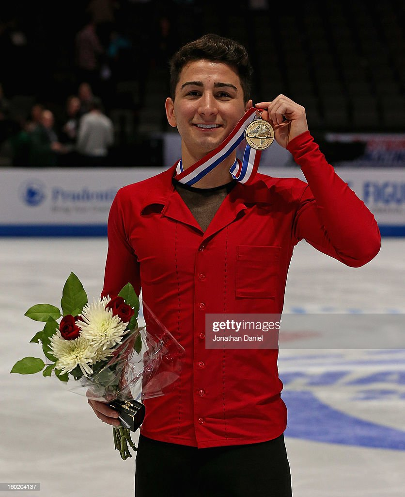Max Aaron poses with the gold medal after winning the Men's Free Skate during the 2013 Prudential U.S. Figure Skating Championships at CenturyLink Center on January 27, 2013 in Omaha, Nebraska.