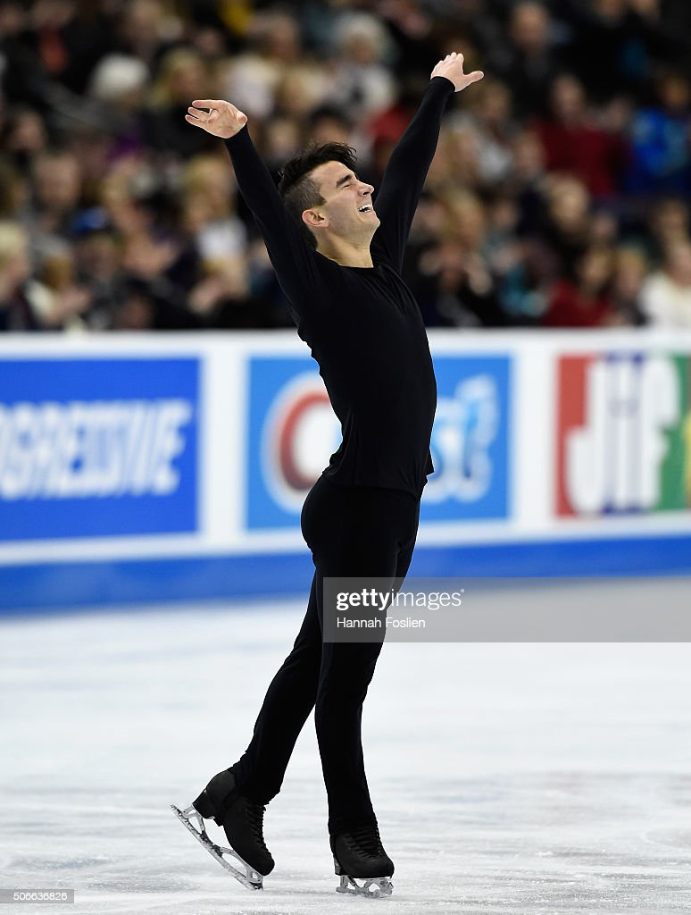 <a gi-track='captionPersonalityLinkClicked' href=/galleries/search?phrase=Max+Aaron&family=editorial&specificpeople=7380345 ng-click='$event.stopPropagation()'>Max Aaron</a> reacts as he finishes competing in the Men's Free Skate at the 2016 Prudential U.S. Figure Skating Championship on January 24, 2016 at Xcel Energy Center in St Paul, Minnesota.