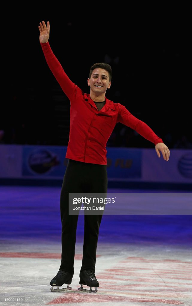 Max Aaron waves to fans after winning the Men's Free Skate during the 2013 Prudential U.S. Figure Skating Championships at CenturyLink Center on January 27, 2013 in Omaha, Nebraska.