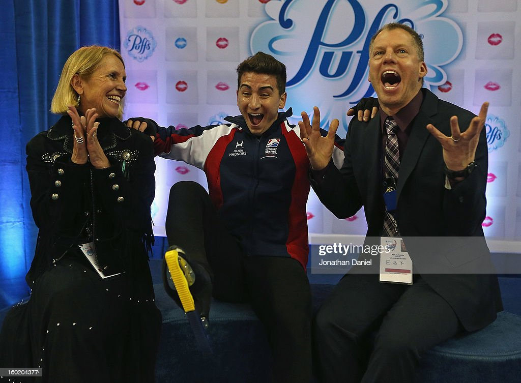 Max Aarons (center) reacts along with his coaches Becky Calvin (L) and Tom Zakrajsek (R) as his score is announced in the Men's Free Skate during the 2013 Prudential U.S. Figure Skating Championships at CenturyLink Center on January 27, 2013 in Omaha, Nebraska.