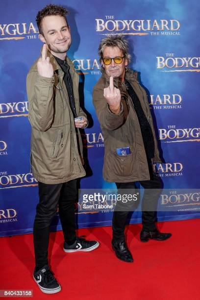 Max and Brian Mannix during a production media call for The Bodyguard at Regent Theatre on August 29 2017 in Melbourne Australia