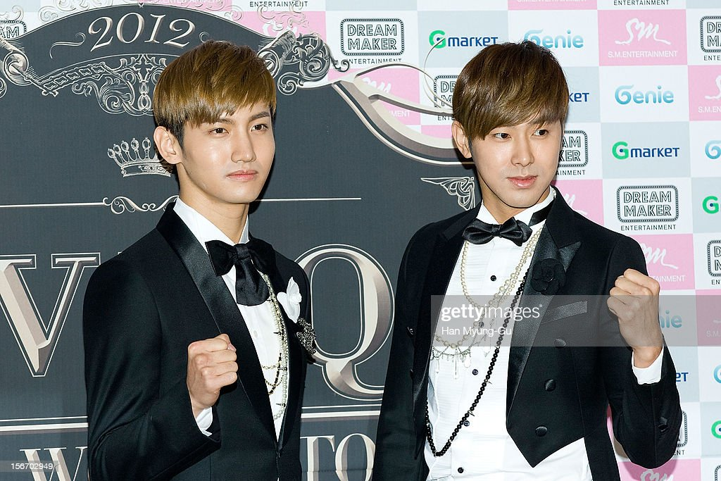 Max and <a gi-track='captionPersonalityLinkClicked' href=/galleries/search?phrase=U-Know&family=editorial&specificpeople=8263253 ng-click='$event.stopPropagation()'>U-Know</a> of South Korean boy band TVXQ pose for media during a press conference before their World Tour concert 'Catch Me' at the Olympic Gymnasium on November 18, 2012 in Seoul, South Korea.