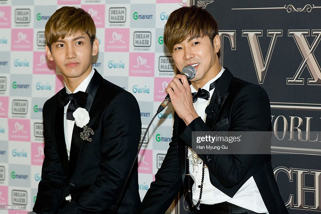 Max and <a gi-track='captionPersonalityLinkClicked' href=/galleries/search?phrase=U-Know&family=editorial&specificpeople=8263253 ng-click='$event.stopPropagation()'>U-Know</a> of South Korean boy band TVXQ speak during a press conference before their World Tour concert 'Catch Me' at the Olympic Gymnasium on November 18, 2012 in Seoul, South Korea.