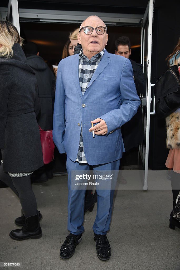 Max Azria is seen leaving the BCBGMAXAZRIA fashion show during Fall 2016 New York Fashion Week at Skylight Moynihan Station on February 11, 2016 in New York City.