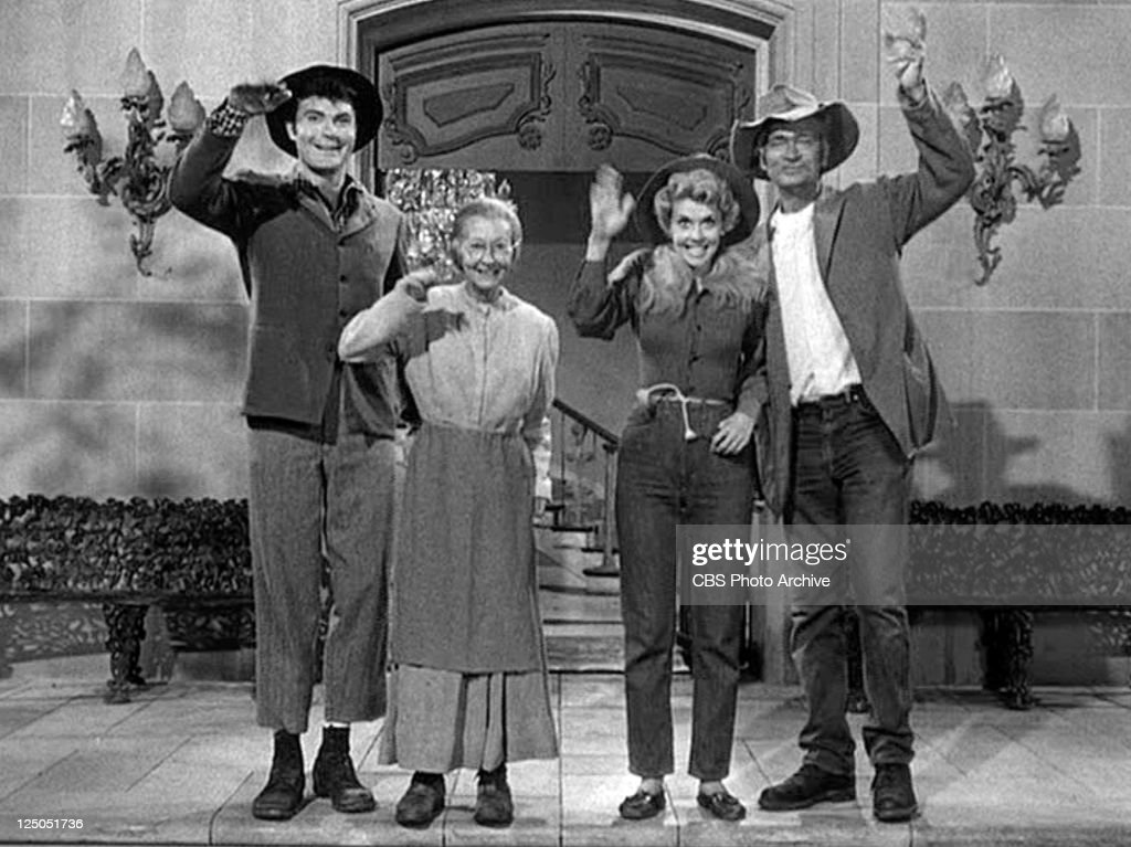 Max Baer, Jr. as Jethro Bodine, Irene Ryan as Daisy Moses (Granny), <a gi-track='captionPersonalityLinkClicked' href=/galleries/search?phrase=Donna+Douglas&family=editorial&specificpeople=990336 ng-click='$event.stopPropagation()'>Donna Douglas</a> as Elly May Clampett and <a gi-track='captionPersonalityLinkClicked' href=/galleries/search?phrase=Buddy+Ebsen&family=editorial&specificpeople=894081 ng-click='$event.stopPropagation()'>Buddy Ebsen</a> as Jed Clampett in the closing credits of THE BEVERLY HILLBILLIES. Original airdate, October 2, 1963. Image is a frame grab.