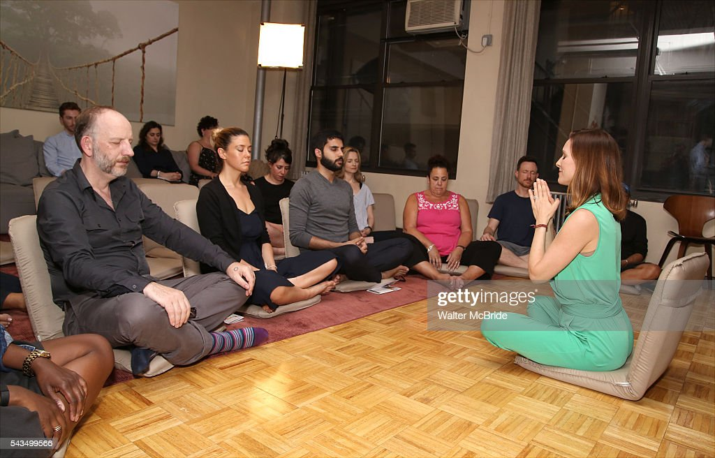 Max Baker, Zoe Winters, Rachel Xhavkin, Babak Tafti, Bess Wohl, Marcia DeBonis and Brad Herberlee attend the 'Small Mouth Sounds' Cast Meet & Greet at Ziva Meditation on June 28, 2016 in New York City.
