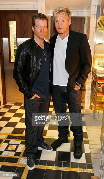 Max Beesley and Gordon Ramsay attend an aftershow party following Jonathan Saunders Spring/Summer 2012 catwalk show during London Fashion Week at...