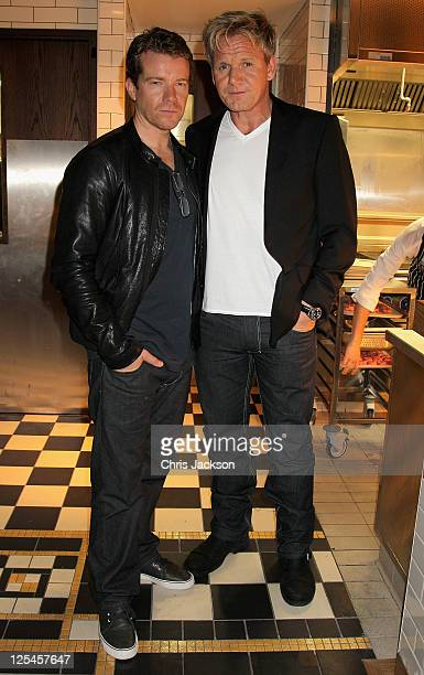 Max Beesley and Gordon Ramsay attend the Jonathan Saunders official London Fashion Week party at Bread Street Kitchen One New Change for London...
