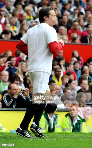 Max Beesley plays football at United For Relief The Big Red Family Day Out at Old Trafford on May 1 2010 in Manchester England