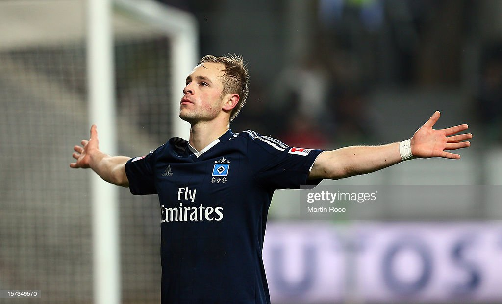 Max Beister of Hamburg celebrates after he scores his team's opening goal during the Bundesliga match between VfL Wolfsburg and Hamburger SV at Volkswagen Arena on December 2, 2012 in Wolfsburg, Germany.