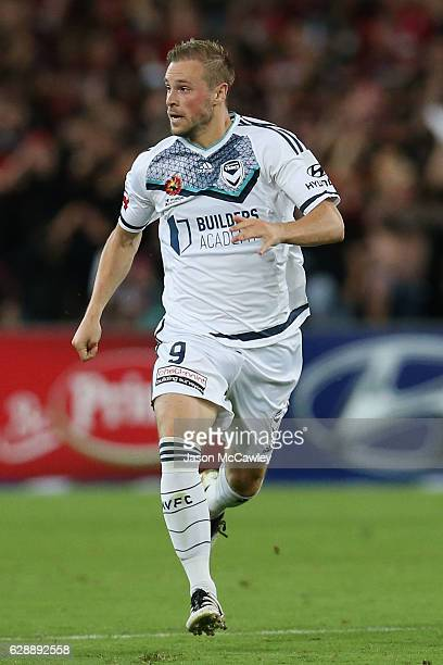 Max Beister of the Victory runs during the round 10 ALeague match between the Western Sydney Wanderers and the Melbourne Victory at ANZ Stadium on...