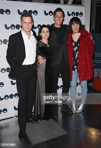 Max Bennett Sadie Frost Ben Charles and Noel Fielding attend a Photocall for the UK Film Premiere 'Set The Thames On Fire' at BFI Southbank on April...