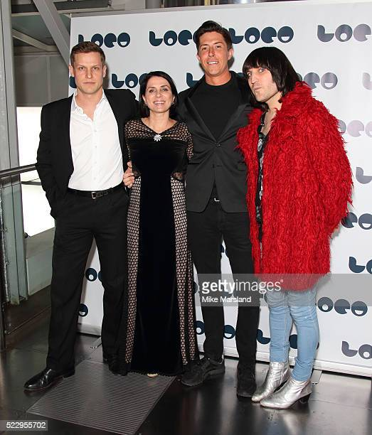 Max Bennett Sadie Frost Ben Charles and Noel Fielding attend the UK film premiere of 'Set The Thames On Fire' on April 21 2016 in London United...