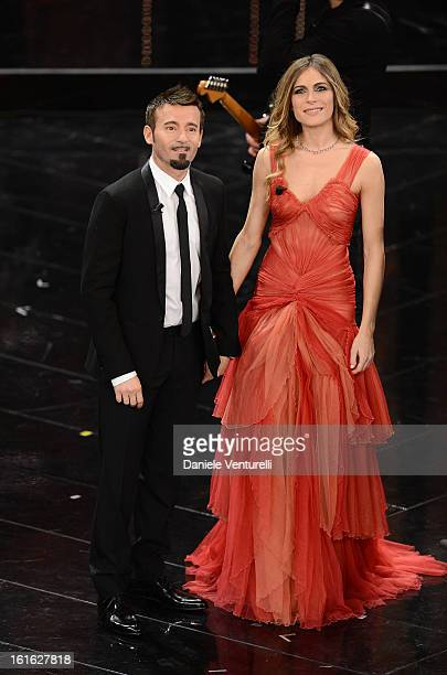 Max Biaggi and Eleonora Pedron attend the second night of the 63rd Sanremo Song Festival at the Ariston Theatre on February 13 2013 in Sanremo Italy
