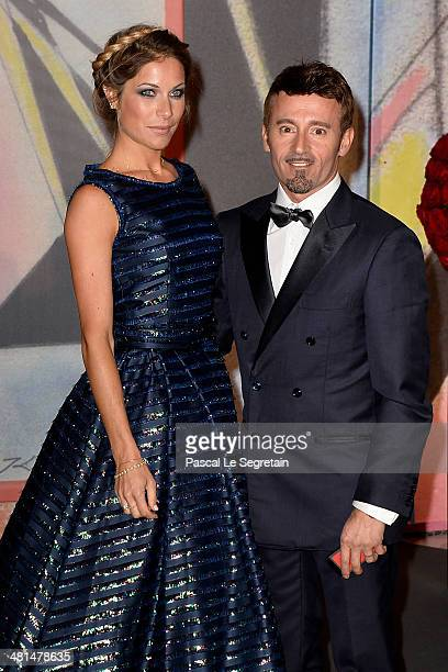Max Biaggi and guest attend the Rose Ball 2014 in aid of the Princess Grace Foundation at Sporting MonteCarlo on March 29 2014 in MonteCarlo Monaco