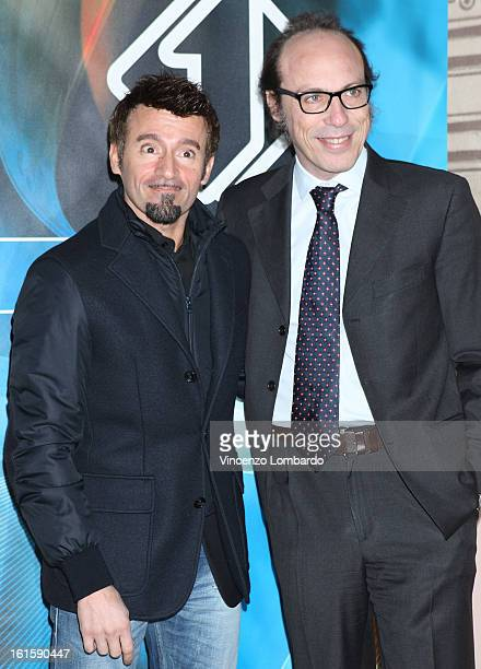Max Biaggi and Guido Meda attends 'Superbike' and 'Motomondiale' TV Show photocall on February 12 2013 in Milan Italy