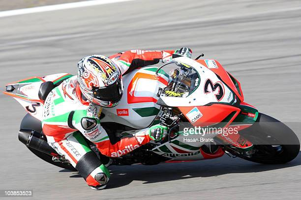 Max Biaggi of Italy and Aprilia Alitalia Racing rounds the bend during second race of the FIM Superbike World Championship at Nuerburgring on...