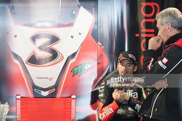 Max Biaggi of Italy and Aprilia Racing Team looks on in box during the Superbike Race 1 at Autodromo di Monza on May 6 2012 in Monza Italy