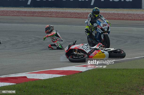 Max Biaggi of Italy and APRILIA RACING TEAM RED DEVILS crashed out during the Race 2 during the FIM Superbike World Championship Race at Sepang...