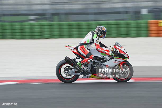 Max Biaggi of Italy and APRILIA RACING TEAM RED DEVILS heads down a straight during the FIM Superbike World Championship Qualifying at Misano World...