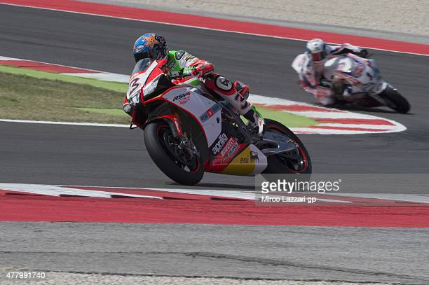 Max Biaggi of Italy and APRILIA RACING TEAM RED DEVILS leads the field during the WSBK Race 1 during the FIM Superbike World Championship Race at...
