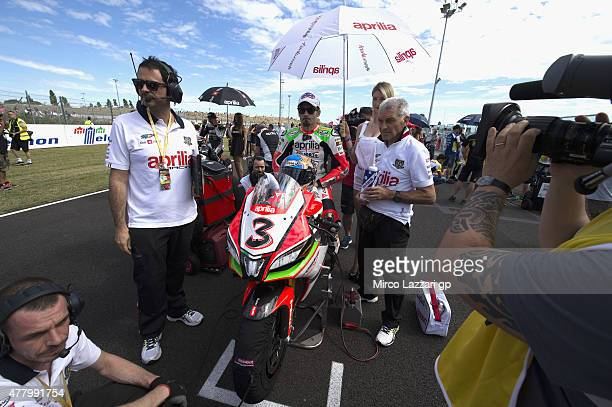 Max Biaggi of Italy and APRILIA RACING TEAM RED DEVILS prepares to start on the grid during the WSBK Race 1 during the FIM Superbike World...