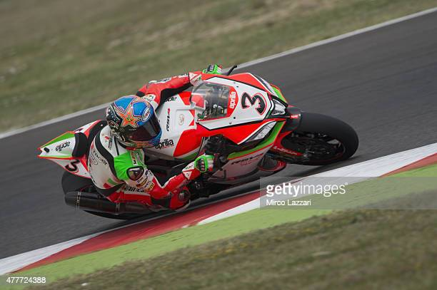 Max Biaggi of Italy and APRILIA RACING TEAM RED DEVILS rounds the bend during the FIM Superbike World Championship Free Practice at Misano World...