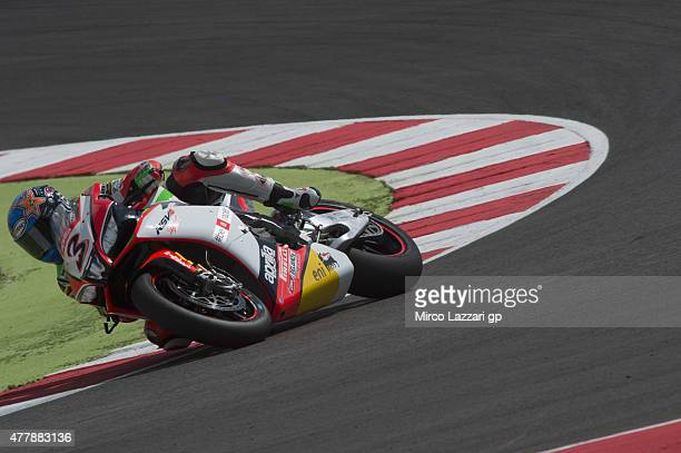 Max Biaggi of Italy and APRILIA RACING TEAM RED DEVILS rounds the bend during the FIM Superbike World Championship Qualifying at Misano World Circuit...