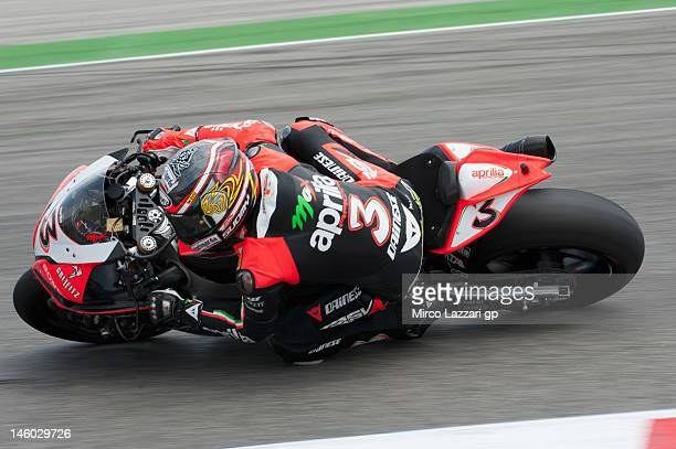 Max Biaggi of Italy and Aprilia Racing Team rounds the bend during the second day of practice of round 7' of 2012 Superbike FIM World Championship at...