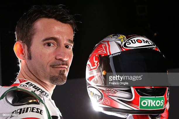 Max Biaggi of Italy attends the 2010 Aprilia Official Superbike Team at the Rome's Leonardo Da Vinci Aiport on February 9 2010 in Rome Italy