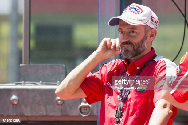 Max Biaggi of Italy looks on in pit wall during the MotoGp of Italy Qualifying at Mugello Circuit on June 3 2017 in Scarperia Italy