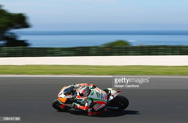 Max Biaggi of Italy rides the Aprilia Alitalia Racing Team Aprilia during practice for round one of the Superbike World Championship at Phillip...