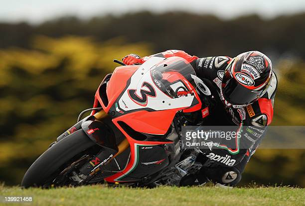 Max Biaggi of Italy rides the Aprilia Racing Team Aprillia during race one of the 2012 Superbike FIM World Championship at Phillip Island Grand Prix...