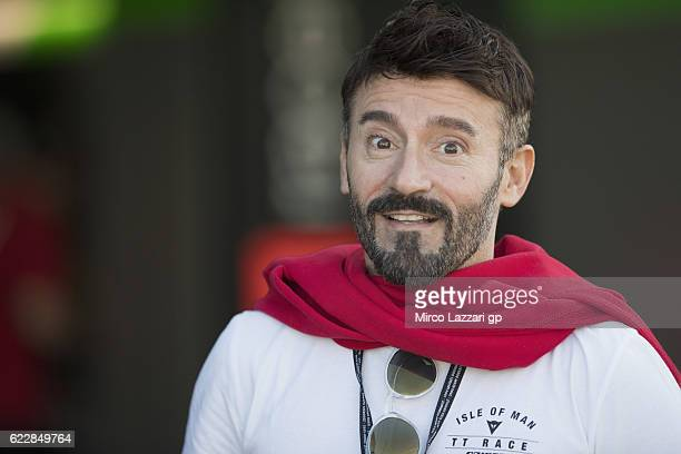Max Biaggi of Italy smiles in pit during the MotoGP of Valencia Qualifying at Ricardo Tormo Circuit on November 12 2016 in Valencia Spain