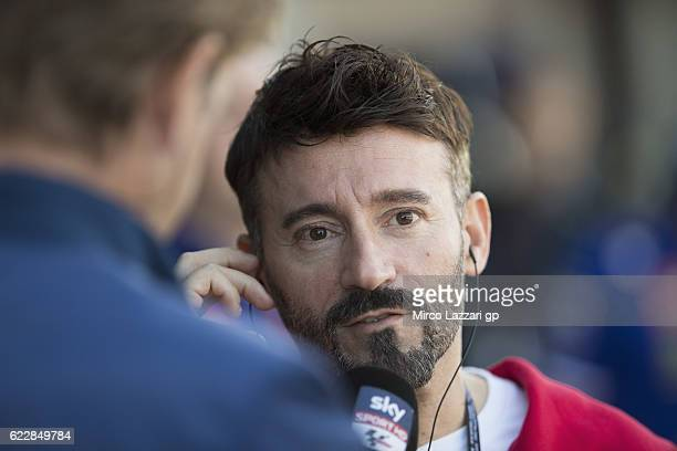 Max Biaggi of Italy speaks with journalists in pit during the MotoGP of Valencia Qualifying at Ricardo Tormo Circuit on November 12 2016 in Valencia...