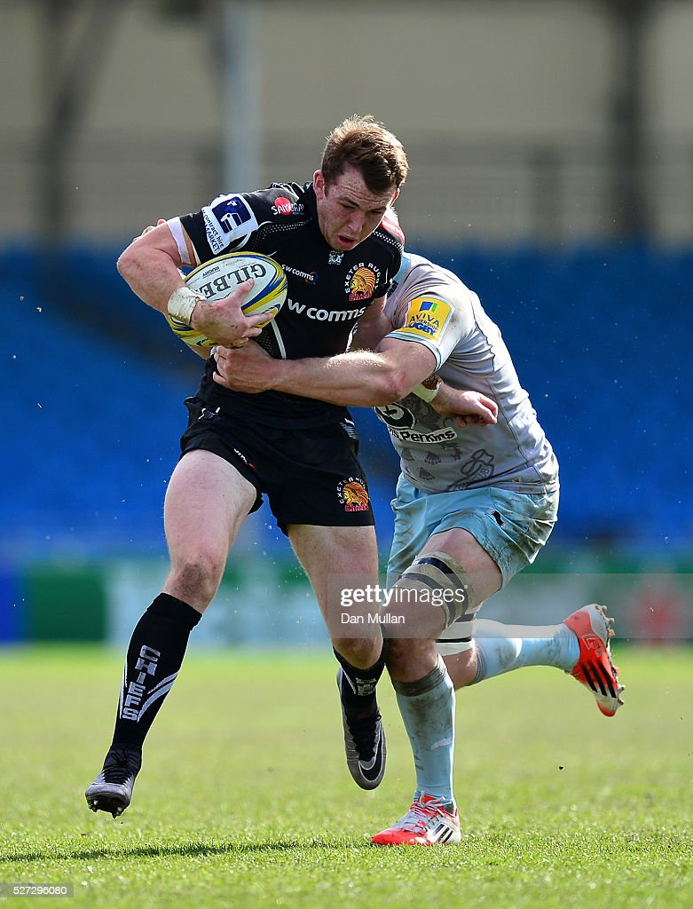 Max Bodilly of Exeter Braves is tackled by Ben Nutley of Northampton Wanderers during the Aviva Premiership A League Final between Exeter Braves and Northampton Wanderers at Sandy Park on May 02, 2016 in Exeter, England.