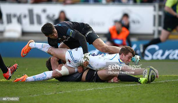 Max Bodilly of Exeter scores the second try during the LV= Cup Final between Saracens and Exeter Chiefs at Franklin's Gardens on March 22 2015 in...