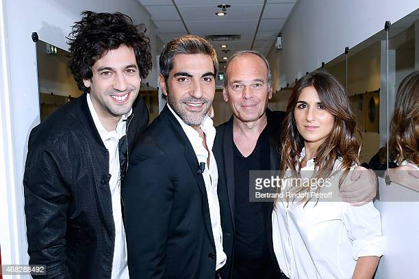 Max Boublil Ary Abittan Laurent Baffie and Geraldine Nakache attend the 'Vivement Dimanche' French TV Show at Pavillon Gabriel on April 1 2015 in...