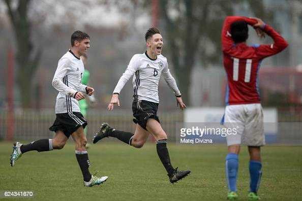 Max Brandt of Germany celebrates his goal during the international friendly match between U16 Czech Republic and U16 Germany on November 19 2016 in...