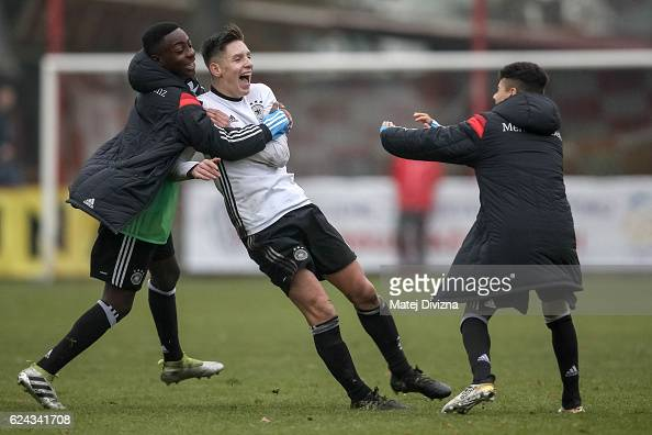 Max Brandt of Germany celebrates his goal with his teammates during the international friendly match between U16 Czech Republic and U16 Germany on...