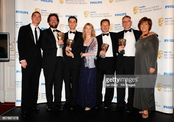 Max Brown Don Gluckman Dan Biddle Lisa Sargood Dominic CrossleyHolland Julian Phillips and Lynda Bellingham with the New Media award received for...