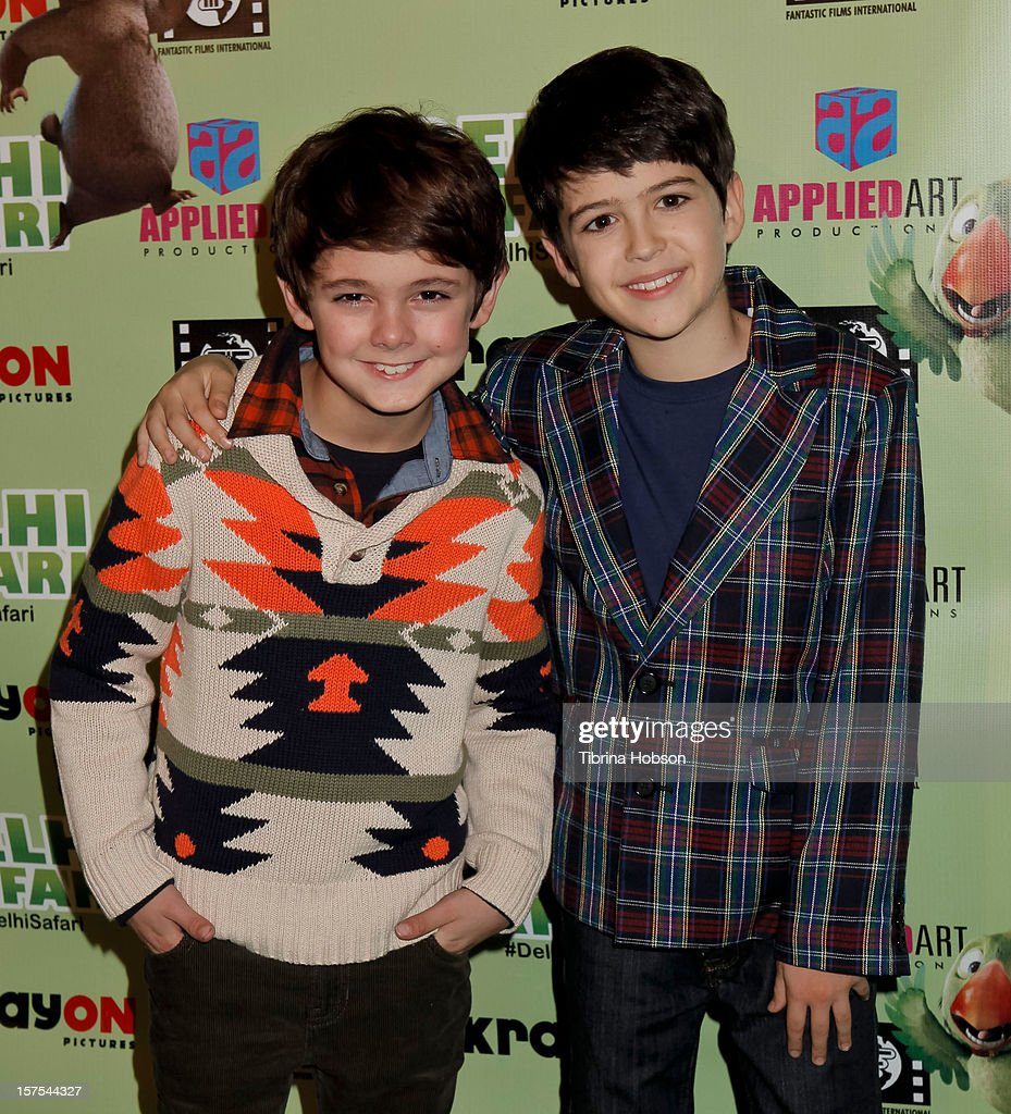 Max Charles and Joshua Rush attend the Delhi Safari Los Angeles premiere at Pacific Theatre at The Grove on December 3, 2012 in Los Angeles, California.